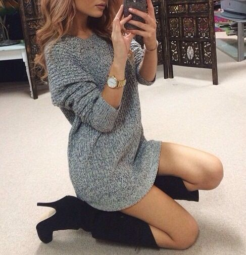 Sweater dress and knee high boots