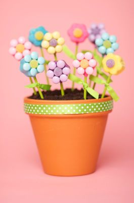 Via Michael's - Flower Pot Cake Pops    Guests will enjoy picking their flower cake pops from your special flower pot. Serves as a great centerpiece for birthday parties, showers and more!    Designed by Duff Goldman®