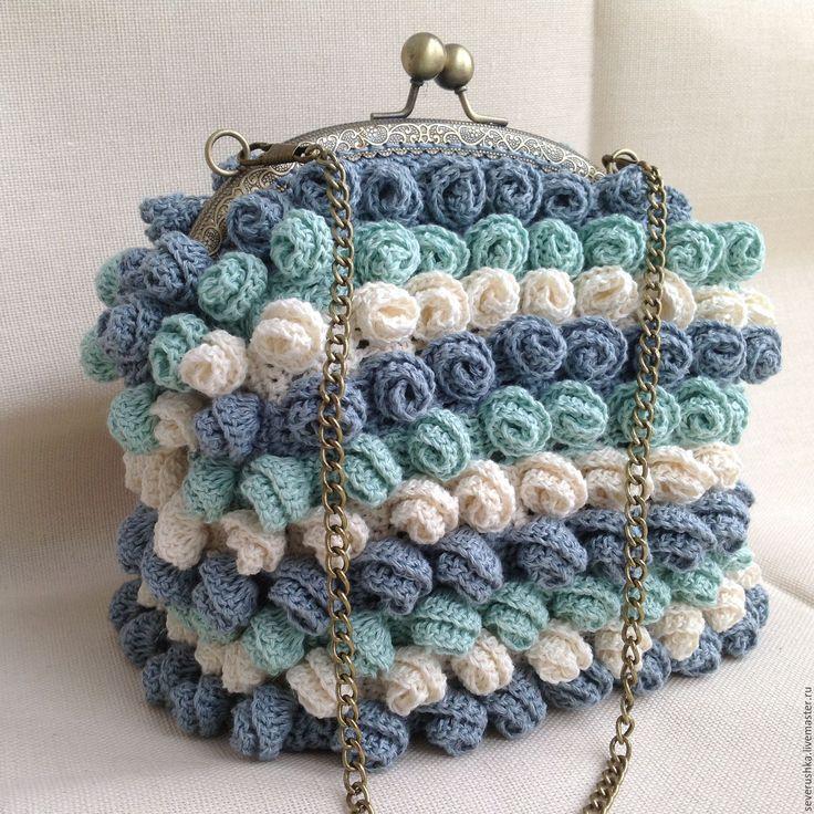 """Купить Сумочка """" Миллион, миллион разных роз..."""" - комбинированный, цветочный, вязаная сумка"""
