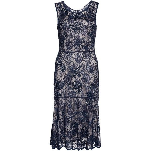Gina Bacconi Beaded Lace Dress , Navy/Silver ($440) ❤ liked on Polyvore featuring dresses, navy blue lace dress, lace midi dress, floral midi dress, navy lace dress and navy maxi dress