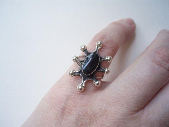 Vintage sterling silver Mexican black onyx by HoneybeedDesigns