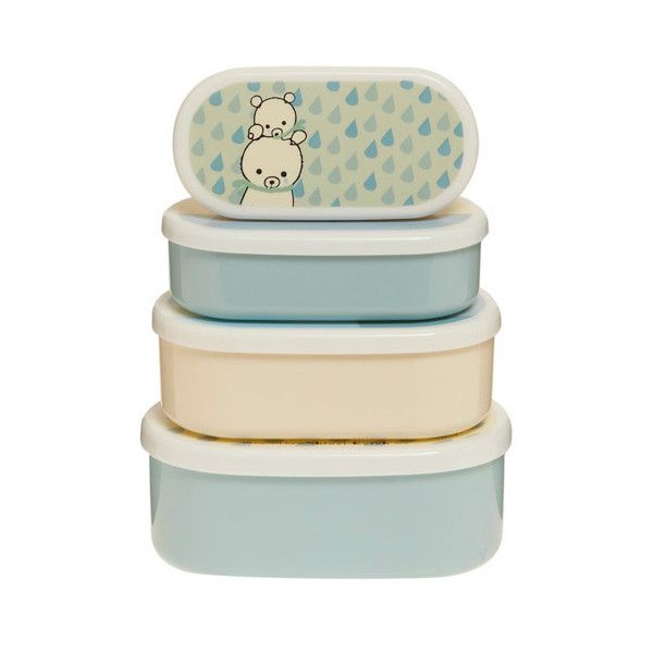 Polar Pals Bento Box Set ($25) ❤ liked on Polyvore featuring home, kitchen & dining, food storage containers, fillers, kitchen, boxes, decoration, stackable food storage containers, stackers jewellery box and jewelry box