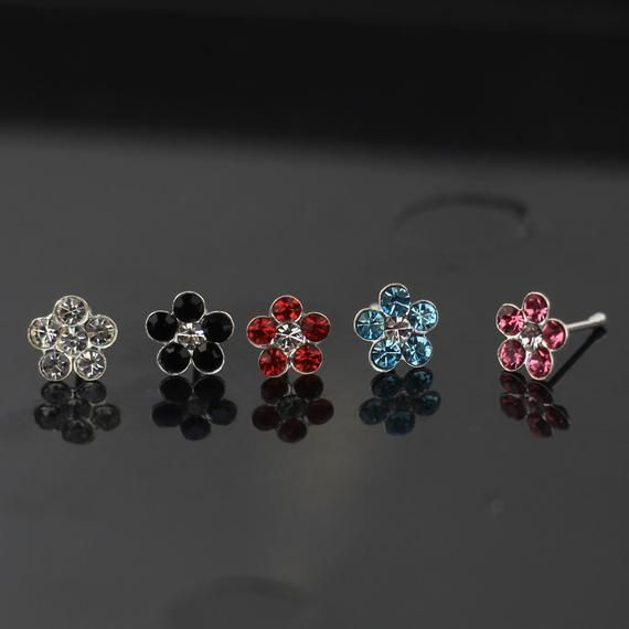 Thin Nose Ring Sterling Silver Nose Ring-Nose Bone Style 22 Gauge Nose Ring Multiple Colours Available Opal Nose Ring