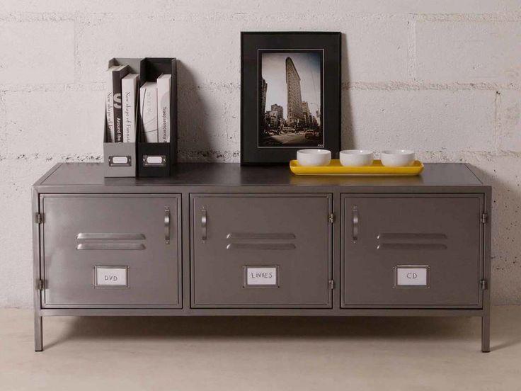 Affordable meuble tv bas portes en mtal gris lcm hcm for Meuble tv 40 cm profondeur