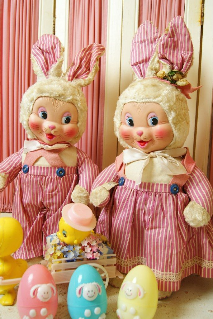 Gund & Co. Vintage Easter Stuffed Toys....Easter Bunnies.,c1950