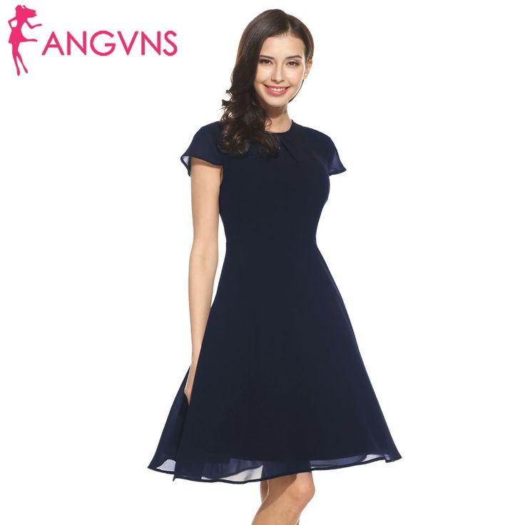 ANGVNS Women Chiffon Dress 2018 Spring summer Keyhole Back Fit and Flare Chiffon  Dress Spring Femme 0e34d5cbe6f9