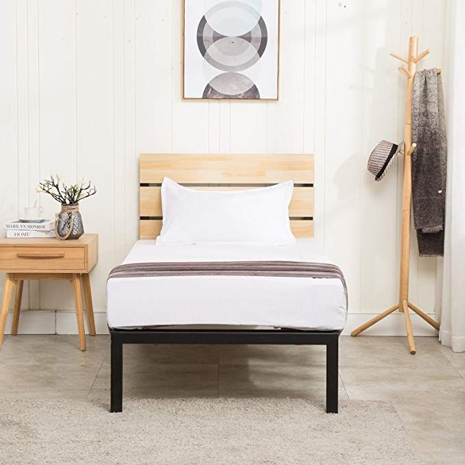 Mecor Wood Metal Platform Bed Frame Twin Size With Wooden