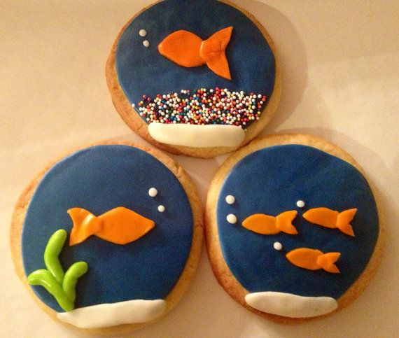 Fondant Fish Bowl Cookies