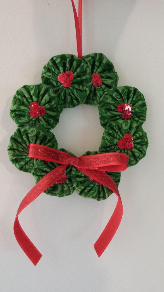 Fabric Yoyo Ornament Wreath