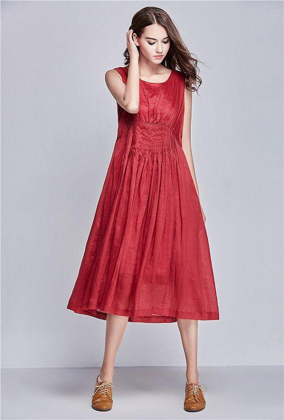 Cocktail Wedding Sundress in Pink / Long Pleated Handmade Dress / Maxi Bridesmaid Dress