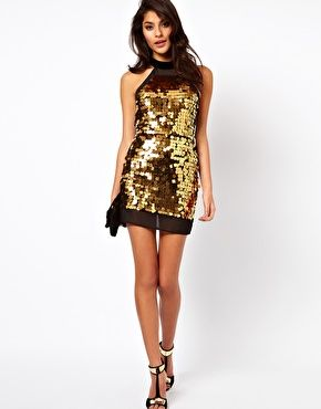ASOS Petite Sequin Dress....perfect for New Year's Eve.  Dare to look at the back!