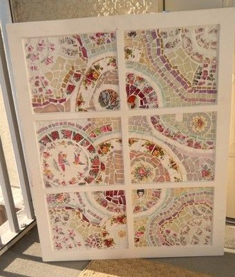 Handmade Mosaic Wall Art from broken china plate tiles and stained glass. An old Window Pane...
