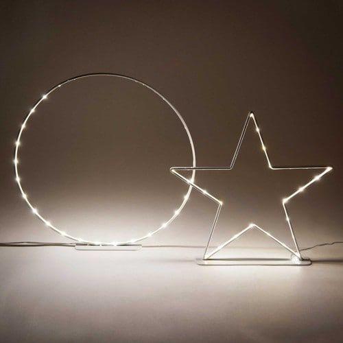 2 decorazioni luminose stella e cerchio
