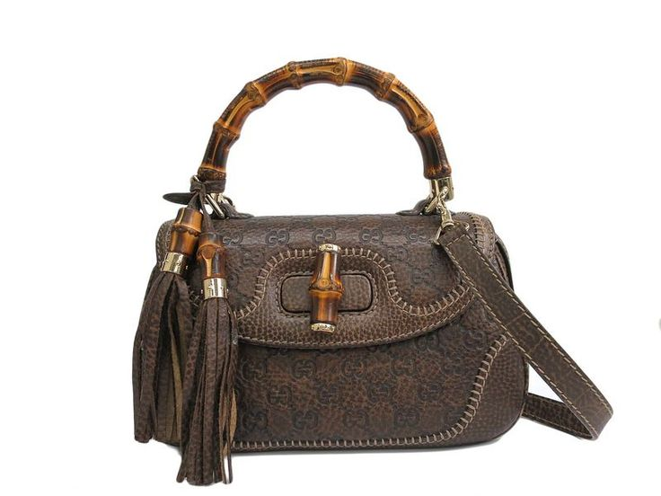 #GUCCI Hand bag Bamboo/Guccissima GG Leather Dark Brown 224964 (BF103009): #eLADY global accepts returns within 14 days, no matter what the reason! For more pre-owned luxury brand items, visit http://global.elady.com