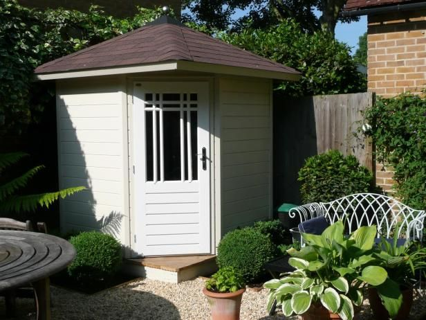 If you are looking for a posh shed that will easily fit into a corner of your yard, you might consider the  Prima Fifth Avenue shed  which is manufactured from 28mm tongue and groove timber and comes with a pyramid roof finished in standard felt shingles.