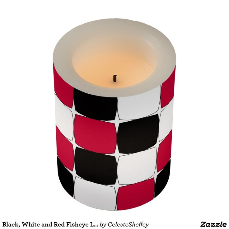 Black, White and Red Fisheye Led candle great for table decorations