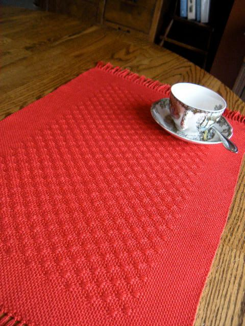 Placemats Red Handwoven Huck Lace Table Mat Red by ThistleRoseWeaving