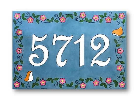 Address numbers sign, Love birds address plaque, Name sign with flowers and birds, Custom address numbers