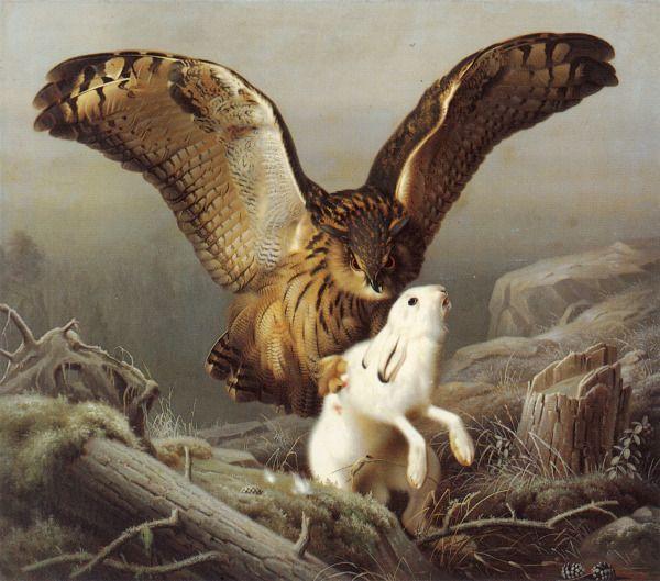 Ferdinand von Wright, Huuhkaja Iskee Jäniksen, 1860