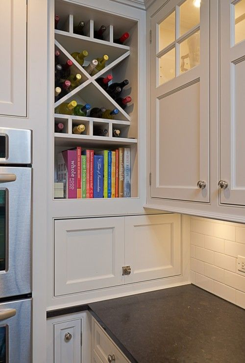 For that awkward corner cabinet.  No door - just a self for cookbooks and wine storage.