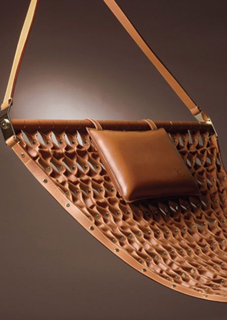 Louis Vuitton Leather Hammock ... and there's a leather folding stool, too.