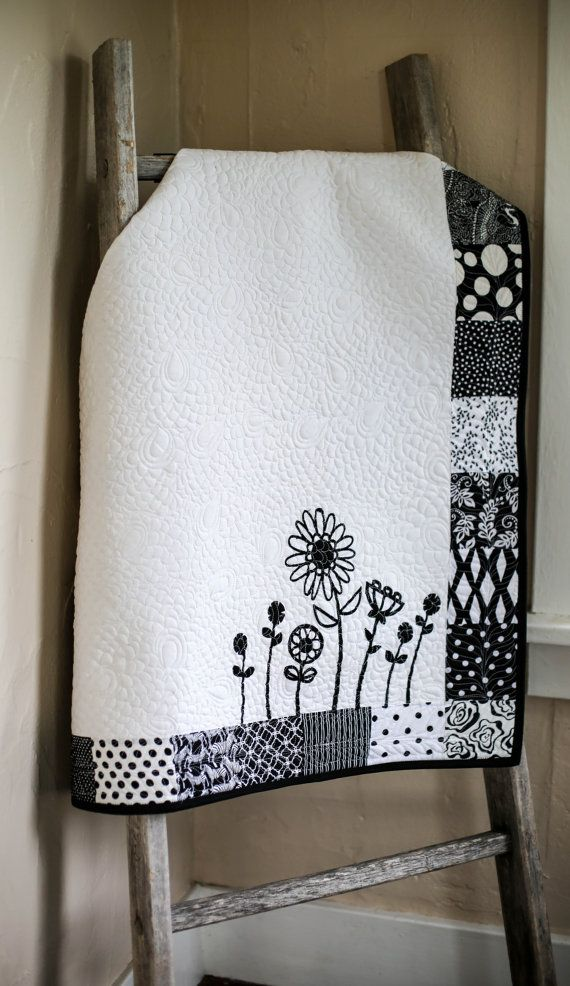 Black and White Baby Quilt, Floral Baby Blanket, Boho Baby Nursery, Whimsical, Modern Baby Throw, Nursery Wall Hanging, Nursery Wall Art