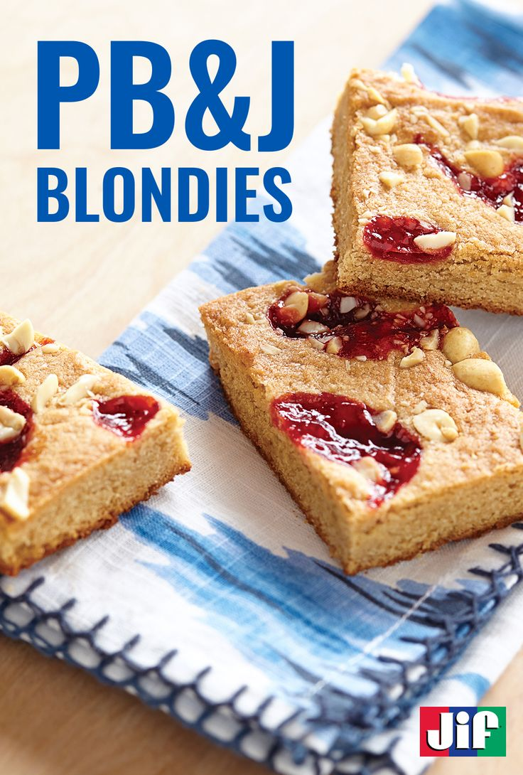 Remember baking with mom? Remember getting your hands messy? And remember the taste of making treats together? Well it's time to create those same memories with your kids thanks to these scrumptious PB&J-inspired blondies. They make the perfect lunchbox treat or after school snack!