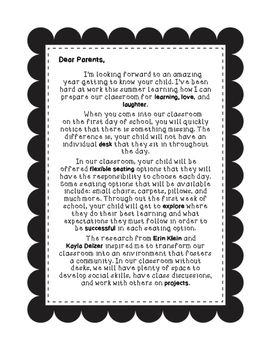 Inform parents about your flexible seating adventures with this letter! Research from Kayla Delzer and Eric Klein included!