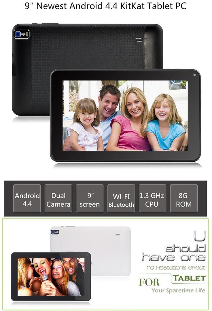 """ARM Cortex-A7 Android 4.4 9"""" Tablet PC w/ 512MB, 8GB ROM, OTG - Black - Free Shipping - DealExtreme"""