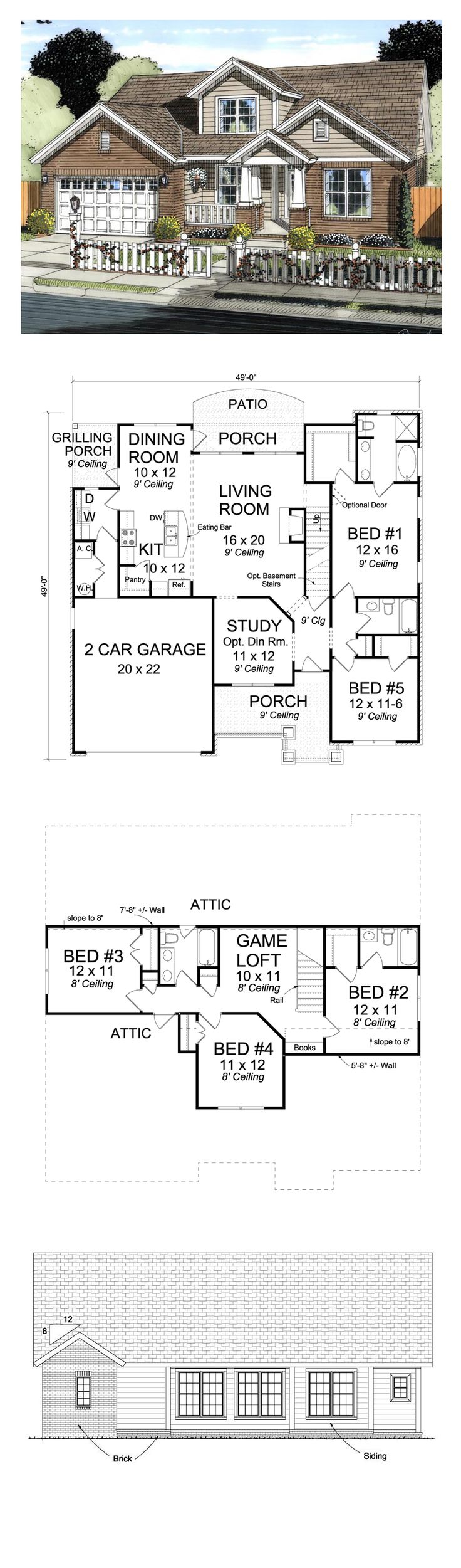 Craftsman House Plan 61421 | Total Living Area: 2317 sq. ft., 5 bedrooms and 4 bathrooms. #houseplan #craftsmanhome