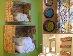 baskets turned into towel holders