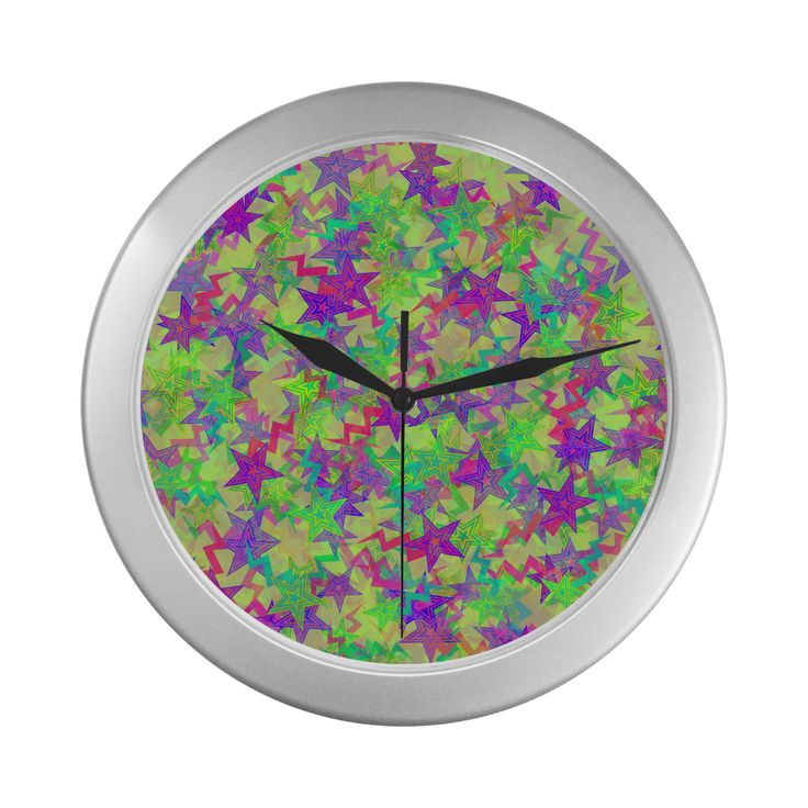 Shooting Stars Silver Color Wall Clock