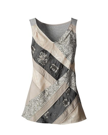 Great tank, line with t-shirt material. Love the darts, gathering in the shoulder strap. Nice piecing!