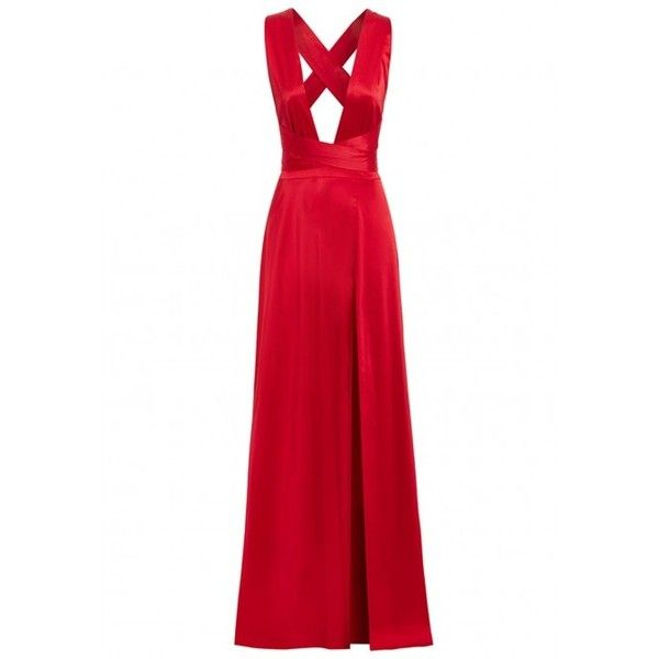 Nadine Merabi Gracie Multiway Maxi Dress in Red ($340) ❤ liked on Polyvore featuring dresses, gowns, long white maxi skirt, red maxi skirt, white cocktail dress, sexy red dress and evening maxi dresses