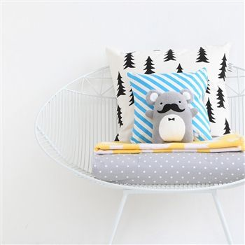 Noodoll Ricedapper Plush Toy, baby toy, Farg Form baby bedding, Fine Little Day Gran cushion, clouds blanket. Modern nursery bedding. Sebra wire chair.