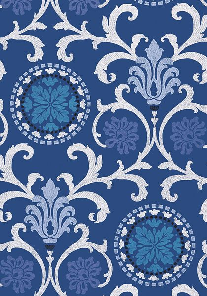 Banyan wallpaper in navy from the Caravan collection.