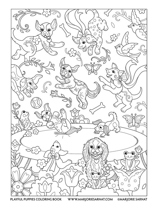 Trampoline Playful Puppies Coloring Book By Marjorie