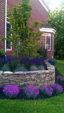 Love this Retaining Wall Planting. May be good idea next to garage?      Foundation Planting Design Ideas, Pictures, Remodel, and Decor - page 28