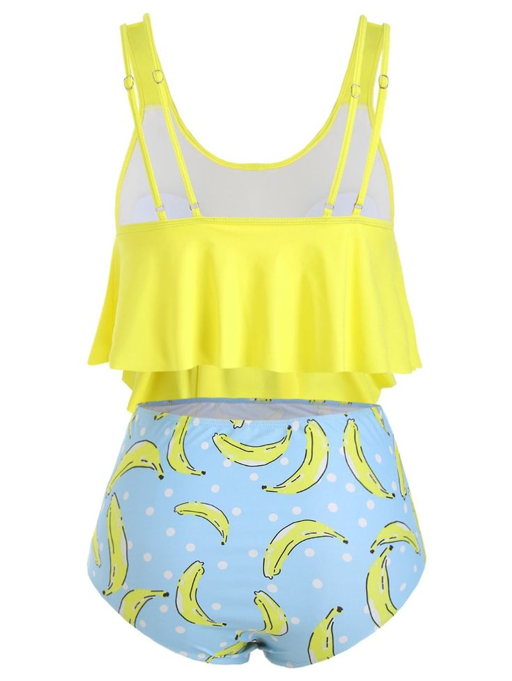 Plus Size Overlay Banana Print Tankini Swimsuit