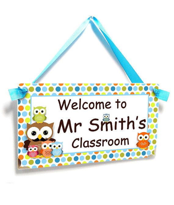 male teacher door sign  owls themed classroom decor  by kasefazem