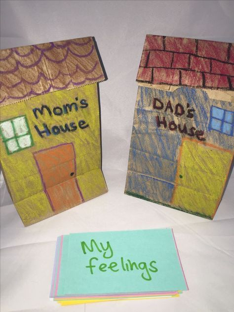 Divorce and separation counseling Activity craft with paper bags.