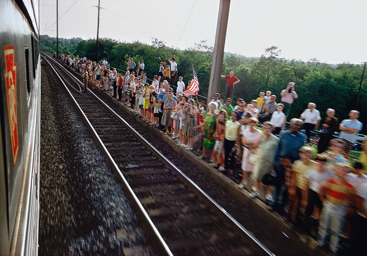 View from the train carrying Robert F. Kennedy's coffin between New York City and Washington. Shot by Paul Fusco June 8, 1968.