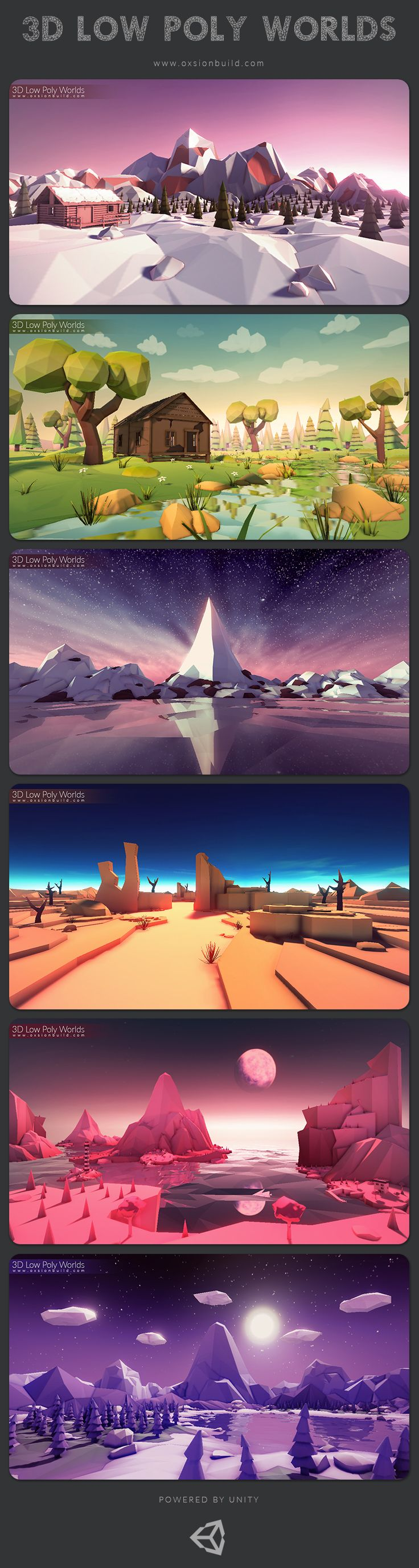 3D Low Poly Worlds is different colorful worlds, in the low poly style, to use for your projects. #Unity #AssetStore #GameDesign #GameAssets #GameArt #Game #3DGame #GameConcept #3D #LowPoly #3DModels #Landspace #Environment #Skybox