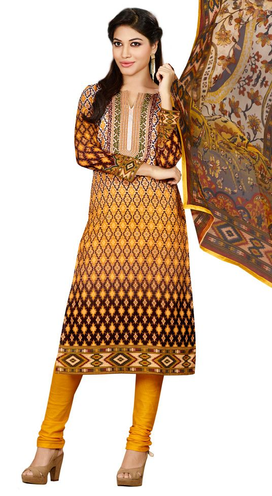 USD 27.68 Yellow Cotton Embroidery Churidar Suit 44675