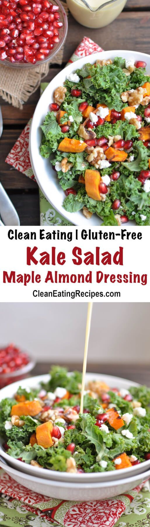 I love the sweet and tangy variety in this Clean Eating kale salad recipe. My favorites are the roasted sweet potatoes, goat cheese, pomegranates, goat cheese and walnuts. The maple walnut dressing helps pull it together.