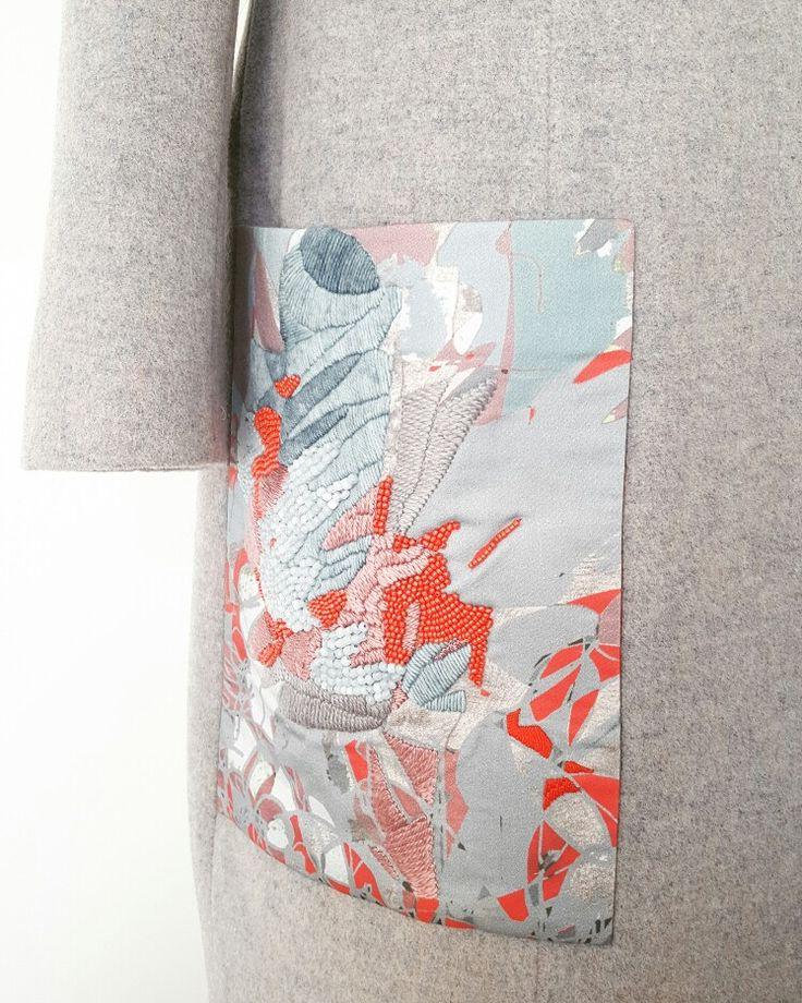 #mskpu, #embroidery #płaszcz #kieszeń #haft