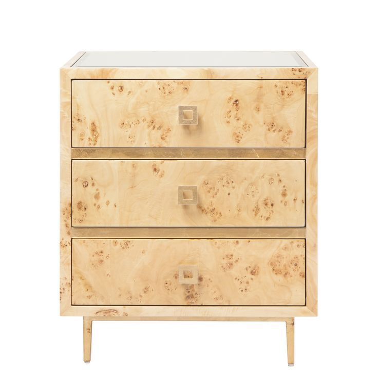 Worlds Away - Hyde Burl Wood with Gold Side Table - HYDE BWG