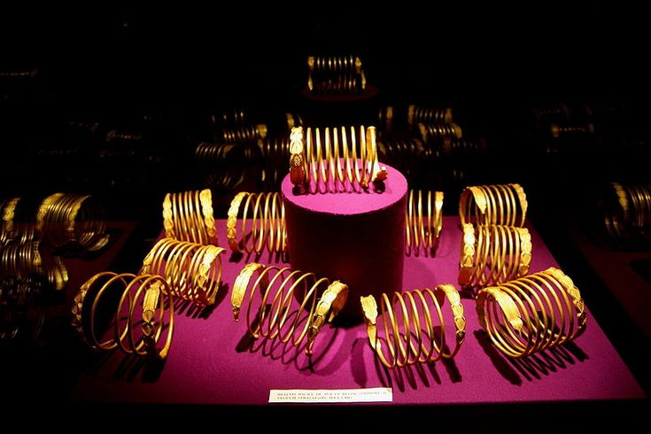 Dacian gold bracelets on display in the National Museum of Romanian History, Bucharest