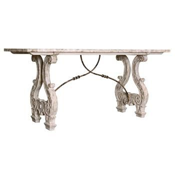 Italian Lyre Base Rustic Country Antique Dining Table #kathykuohome