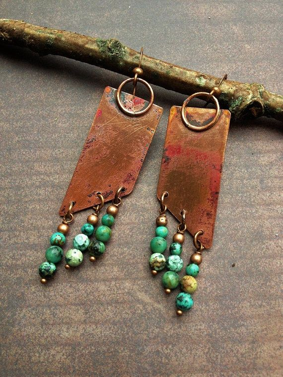 Geometric Funky Rustic Oxidized Copper and by Lammergeier on Etsy, $36.00